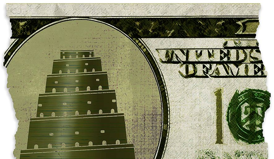 Ben Franklin and the Tower of Babel Illustration by Greg Groesch/The Washington Times