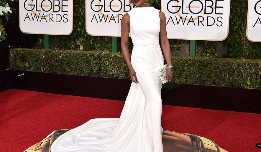 Laverne Cox arrives at the 73rd annual Golden Globe Awards on Sunday, Jan. 10, 2016, at the Beverly Hilton Hotel in Beverly Hills, Calif. (Photo by Jordan Strauss/Invision/AP)