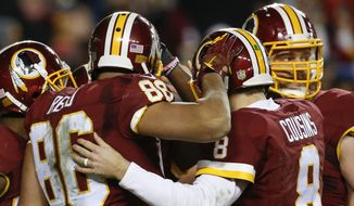 Washington Redskins quarterback Kirk Cousins (8) and Washington Redskins tight end Jordan Reed (86) celebrate Reed's touchdown during the first half of an NFL wild card playoff football game against the Green Bay Packers in Landover, Md., Sunday, Jan. 10, 2016. (AP Photo/Alex Brandon)