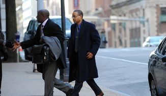 Caesar Goodson, right, arrives at Courthouse East, in Baltimore for a motions hearing ahead of the trial for Goodson, who drove the police transport van where Freddie Gray was critically injured. Prosecutors want William Porter, whose trial ended in a mistrial last month, to testify against Goodson and Sgt. Alicia White. (Kim Hairston/The Baltimore Sun via AP, File)  WASHINGTON EXAMINER OUT; MANDATORY CREDIT