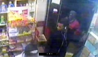 This image from security video provided by the New York Police Department, from a security camera at a bodega at 635 Watkins St. in the Brooklyn borough of New York, shows three men who are wanted by police in connection with the gang rape of an 18-year-old woman who was walking in the nearby Osborn Playground with her father later the same evening. Authorities say five men approached the pair. They say one of the men pointed a gun at the father and ordered him at gunpoint to leave before they took turns raping the woman.The father returned with two police officers, but the attackers fled. (New York Police Department via AP)