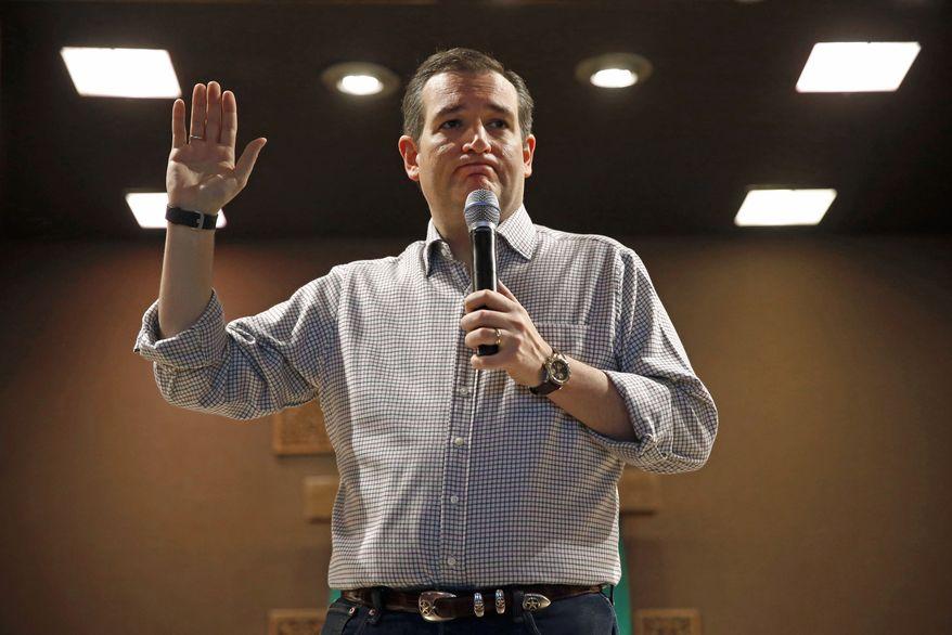 Republican presidential candidate, Sen. Ted Cruz, R-Texas, holds a town hall at Praise Community Church in Mason City, Iowa, in this Jan. 8, 2016, file photo. (AP Photo/Patrick Semansky)