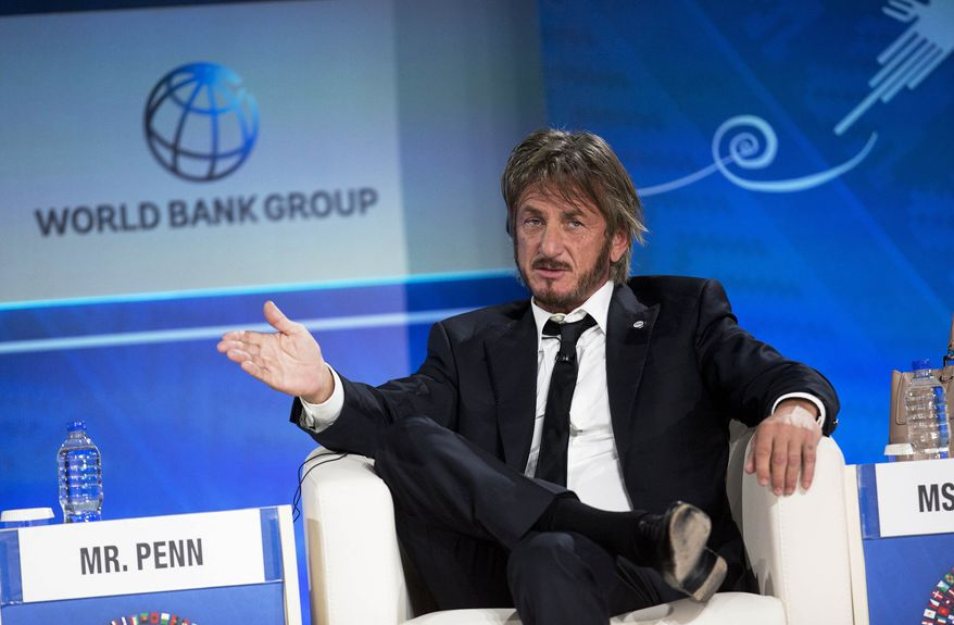 FILE - In this Thursday, Oct. 8, 2015 file photo, Sean Penn speaks during a forum with young entrepreneurs during the IMF and World Bank annual meeting in Lima, Peru. Late Saturday, Jan. 9, 2016, Rolling Stone magazine published an interview that Guzman apparently gave to Penn in his hideout in Mexico months before his recapture. In the article and interview, Penn describes the complicated measures he took to meet the legendary drug lord. (AP Photo/Rodrigo Abd)