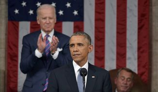 President Barack Obama delivers his State of the Union address to a joint session of Congress on Jan. 20, 2015, as Vice President Joe Biden applauds and House Speaker John Boehner of Ohio listens. (Associated Press)