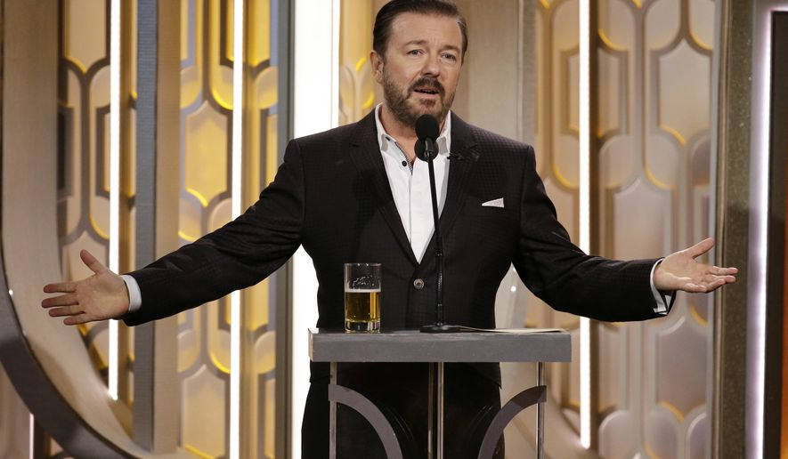 In this image released by NBC, Ricky Gervais hosts the 73rd Annual Golden Globe Awards at the Beverly Hilton Hotel in Beverly Hills, Calif., on Sunday, Jan. 10, 2016. (Paul Drinkwater/NBC via AP)