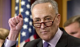 "FILE - In this Dec. 3, 2015, file photo, Sen. Charles Schumer, D-N.Y., speaks during a news conference on Capitol Hill in Washington. With Monday's vote for the federal judge from Philadelphia, the Senate will have cleared its to-do list of nominees to the powerful appeals courts. Nine vacancies will remain, but President Barack Obama has yet to nominate individuals for those posts. ""It's glacial,"" says Schumer, one of the Democrats' point men on judges. ""It's for the partisan purpose of hoping for a Republican president."" (AP Photo/Jacquelyn Martin, File)"