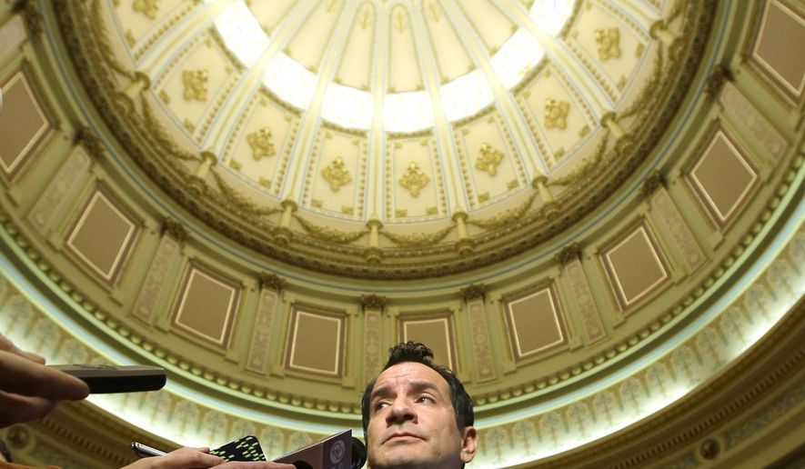 Assemblyman Anthony Rendon, D-Lakewood, meets with reporters in the rotunda of the Capitol after he was elected as the next Assembly speaker, Monday, Jan. 11, 2016, in Sacramento, Calif.  Rendon will formally take over leadership of the chamber starting in March and will replace Toni Atkins, D-San Diego who is termed out. (AP Photo/Rich Pedroncelli)