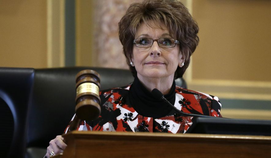 Iowa House Speaker Linda Upmeyer pounds the gavel during the opening day of the Iowa Legislature, Monday, Jan. 11, 2016, at the Statehouse in Des Moines, Iowa. (AP Photo/Charlie Neibergall)