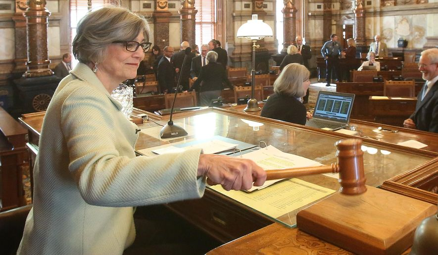 With the swing of her gavel, Senate President Susan Wagle convenes the Senate for the beginning of the Kansas Legislative Session, Monday afternoon, Jan. 11, 2016, in Topeka, Kan. (Thad Allton/The Topeka Capital-Journal via AP) MANDATORY CREDIT