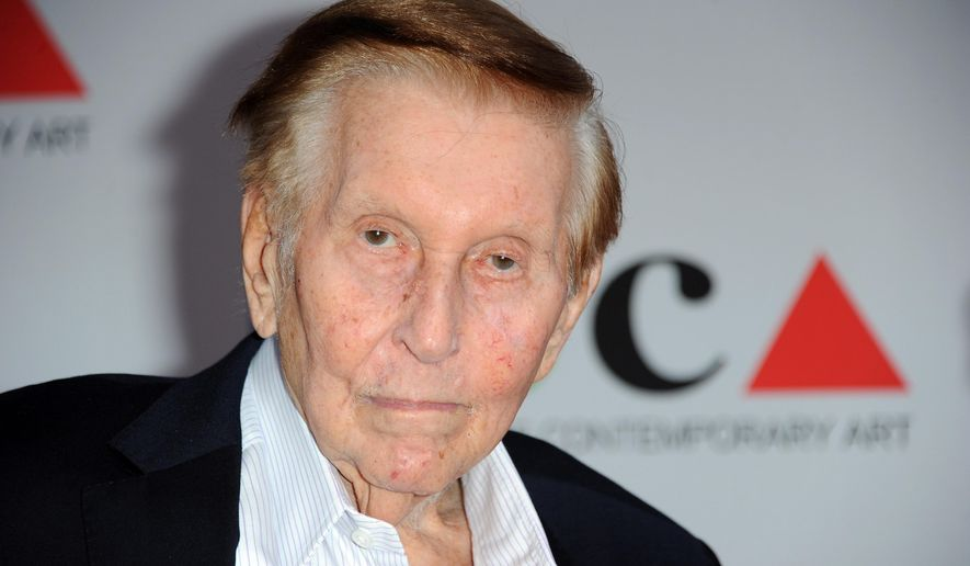 FILE - In this April 20, 2013, file photo, media mogul Sumner Redstone arrives at the 2013 MOCA Gala celebrating the opening of the Urs Fischer exhibition at MOCA, in Los Angeles. Attorneys for Redstone's ex-girlfriend and longtime companion, Manuela Herzer, filed a motion on Monday, Jan. 11, 2016, asking a California appeals court to order the deposition of the mogul so his mental state can be determined before a February court hearing.  (Photo by Richard Shotwell/Invision/AP, File)