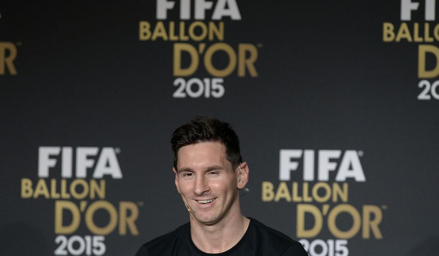 Argentina's Lionel Messi, one of the nominees for the FIFA Ballon d'Or 2015 award, attends a press conference prior to the FIFA Ballon d'Or awarding ceremony at the Kongresshaus in Zurich, Switzerland, Monday, Jan. 11, 2016. (Walter Bieri/Keystone via AP)