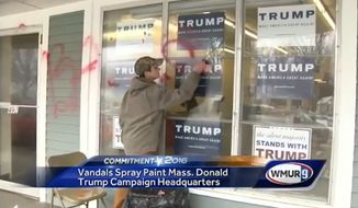 Campaign workers for Donald Trump began cleanup Saturday after vandals targeted his Massachusetts campaign headquarters in Littleton over the weekend. (WMUR)
