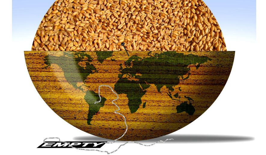 Illustration on climate change and world food supplies by Alexander Hunter/The Washington Times