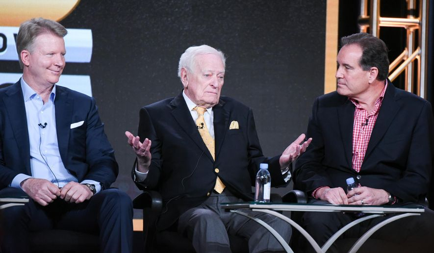 """Sportscasters Phil Simms, from left, Jack Whitaker and Jim Nantz participate in the """"CBS Sports"""" panel at the CBS 2016 Winter TCA on Tuesday, Jan. 12, 2016, in Pasadena, Calif. (Photo by Richard Shotwell/In vision/AP)"""