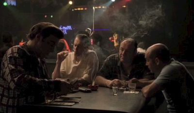 What was the name of the strip club where Tony Soprano's crew discusses business?