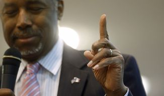Republican presidential candidate Ben Carson gestures while speaking during a town hall at Abundant Life Ministries in Jefferson, Iowa, on Jan. 11, 2016. (Associated Press) **FILE**