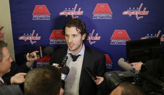 Washington Capitals Mike Richards speaks during a news conference before an NHL hockey game against the New York Islanders Thursday, Jan. 7, 2016, in New York. (AP Photo/Frank Franklin II)