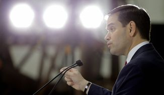Republican presidential candidate, Sen. Marco Rubio, R-Fla. speaks during a campaign stop, Monday, Jan. 11, 2016, in Sarasota, Fla. (AP Photo/Chris O'Meara)