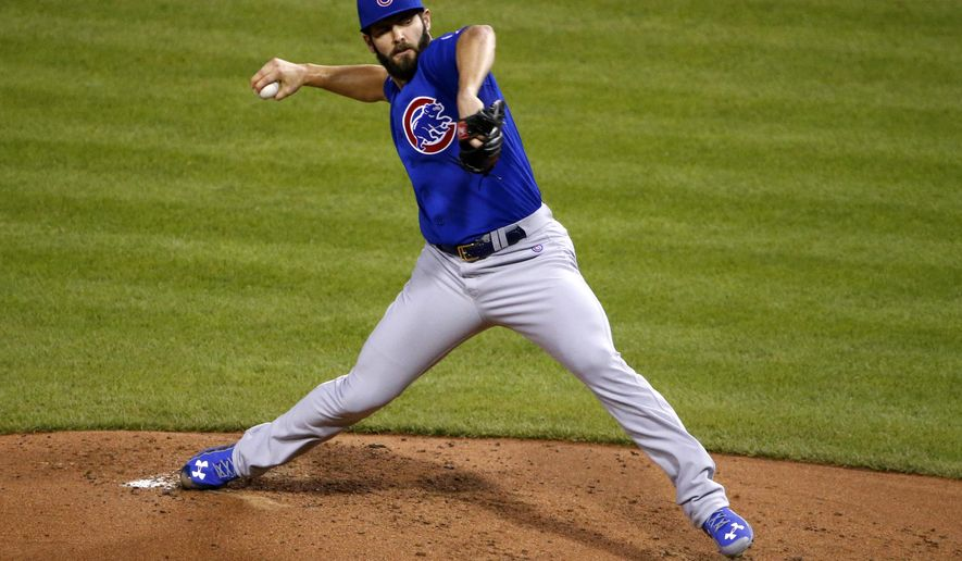 FILE- In this Sept. 16, 2015, file photo, Chicago Cubs starting pitcher Jake Arrieta delivers during the second inning of a baseball game against the Pittsburgh Pirates in Pittsburgh. Cy Young Award winners Arrieta and Dallas Keuchel of the Houston Astros were among 156 players who filed for salary arbitration Tuesday, Jan. 12, 2016, and are set to swap proposed figures with their teams this week unless they agree to contracts. (AP Photo/Gene J. Puskar, File)