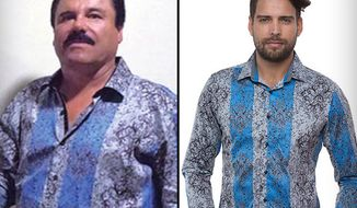 "The flamboyant silk shirts worn by Mexican drug lord Joaquin ""El Chapo"" Guzman during his secret interview with actor Sean Penn are reportedly flying off shelves. (Barabasmen via TMZ)"