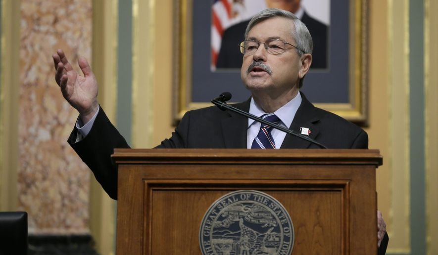 Iowa Gov. Terry Branstad delivers his annual Condition of the State address before a joint session of the Iowa Legislature, Tuesday, Jan. 12, 2016, at the Statehouse in Des Moines, Iowa. (AP Photo/Charlie Neibergall)