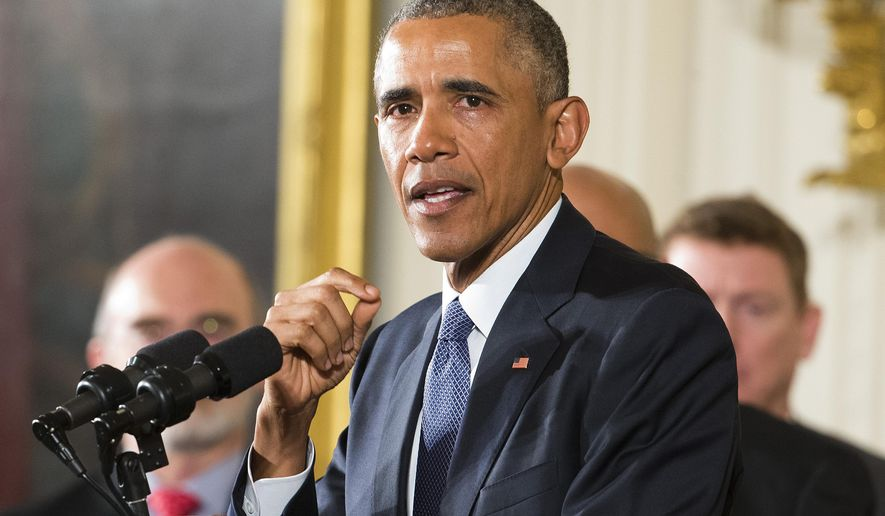"""In this photo taken Jan. 5, 2016, President Barack Obama speaks in the East Room of the White House in Washington. President Barack Obama says Donald Trump is waging a White House campaign based on """"simplistic solutions and scapegoating."""" In an interview broadcast Tuesday, Jan. 12, 2016,  on NBC's """"Today"""" show, Obama said Trump """"is putting out a message that has had adherents through history."""" (AP Photo/Pablo Martinez Monsivais)"""