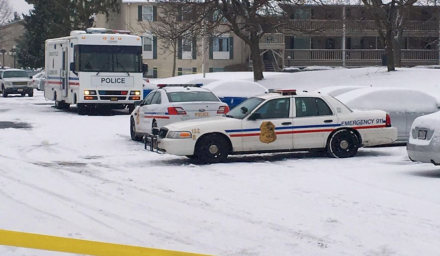 Police vehicles and crime scene tape surround an apartment complex, Tuesday, Jan. 12, 2016, on the north side of Columbus, Ohio, where police say a woman's ex-boyfriend forced his way into her apartment early Tuesday and fatally stabbed her and her two children before being critically injured in a knife fight with her current boyfriend.  (AP Photo/Mitch Stacy)