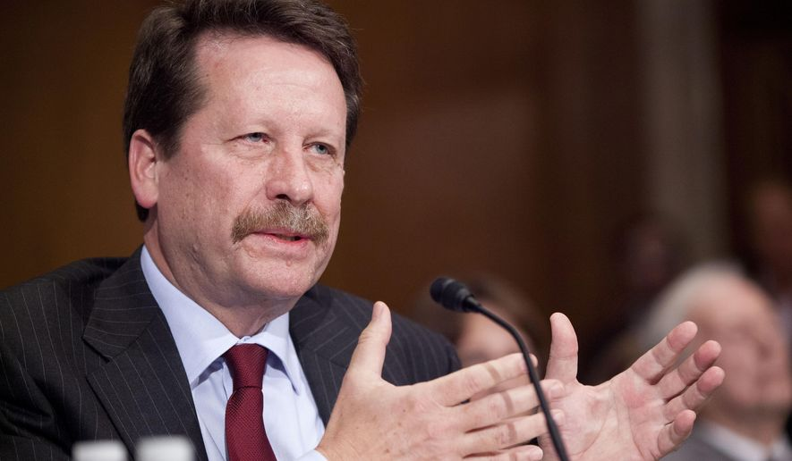 FILE - In this Nov. 17, 2015 file photo, Dr. Robert Califf, President Barack Obama's nominee to lead the Food and Drug Administration (FDA), testifies on Capitol Hill in Washington. The committee plans to votes on Califf's nomination to head the FDA, the agency considering major changes to how it approves drugs and medical devices.  (AP Photo/Pablo Martinez Monsivais, File)