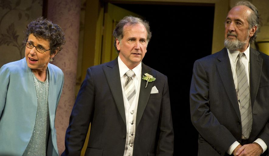 "FILE - In this Oct. 20, 2011 file photo, Julie Kavner, from left, Mark Linn-Baker and Richard Libertini, lappear at the curtain call after the opening night performance of  ""Relatively Speaking,"" three one act plays by Ethan Coen, Elaine May and Woody Allen, in New York. The comedic character actor Libertini has died at age 82. Libertini's ex-wife Melinda Dillon says he died Jan. 7, 2016, after a 2-year-long battle with cancer. (AP Photo/Charles Sykes, File)"