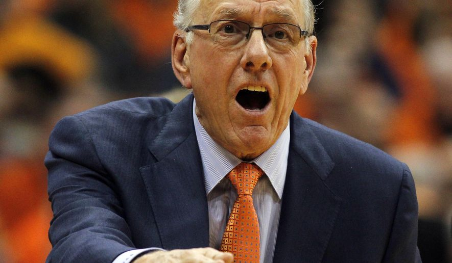 FILE - In this Jan. 9, 2016, file photo, Syracuse head coach Jim Boeheim yells to an official about a call in the second half of an NCAA college basketball game against North Carolina in Syracuse, N.Y. Syracuse is in uncharted territory _ the Orange has never started conference play with four straight losses in coach Jim Boeheim's long tenure and cannot afford another when Boston College visits on Wednesday night.  (AP Photo/Nick Lisi, File)