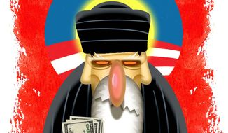 Illustration on Obama's empowerment of Iran's mullahs by Alexander Hunter/The Washington Times