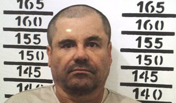"In this Jan. 8, 2016, image released by Mexico's federal government, Mexico's most wanted drug lord, Joaquin ""El Chapo"" Guzman, stands for his prison mug shot with the inmate number 3870 at the Altiplano maximum security federal prison in Almoloya, Mexico. (Mexico's federal government via AP) ** FILE **"