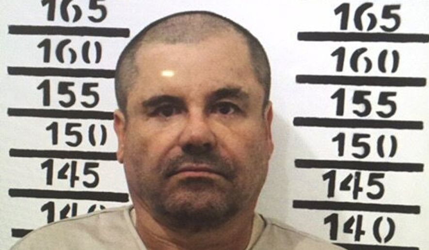 """In this Jan. 8, 2016, image released by Mexico's federal government, Mexico's most wanted drug lord, Joaquin """"El Chapo"""" Guzman, stands for his prison mug shot with the inmate number 3870 at the Altiplano maximum security federal prison in Almoloya, Mexico. (Mexico's federal government via AP) ** FILE **"""