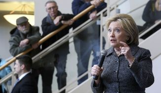 Democratic presidential candidate Hillary Clinton speaks to supporters during a campaign stop at the Charles and Romona Myers Center at University of Dubuque in Dubuque, Iowa, on Jan. 12, 2016. (Nicki Kohl/Telegraph Herald via AP)