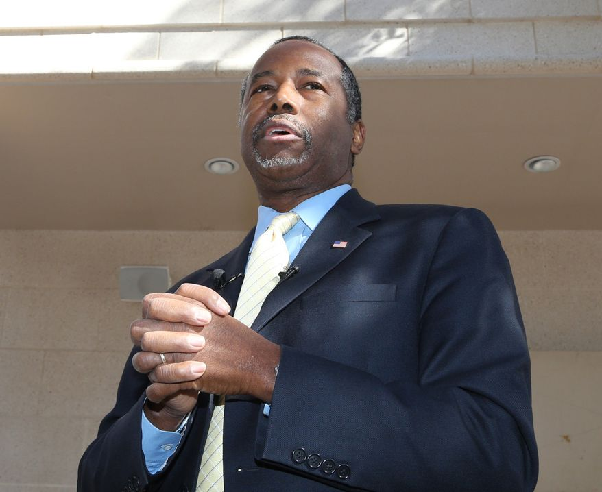 Republican presidential candidate Dr. Ben Carson talks to the media and guests during a private campaign stop in Waco, Texas, Tuesday, Jan. 12, 2016.  (Rod Aydelotte/Waco Tribune-Herald via AP) MANDATORY CREDIT