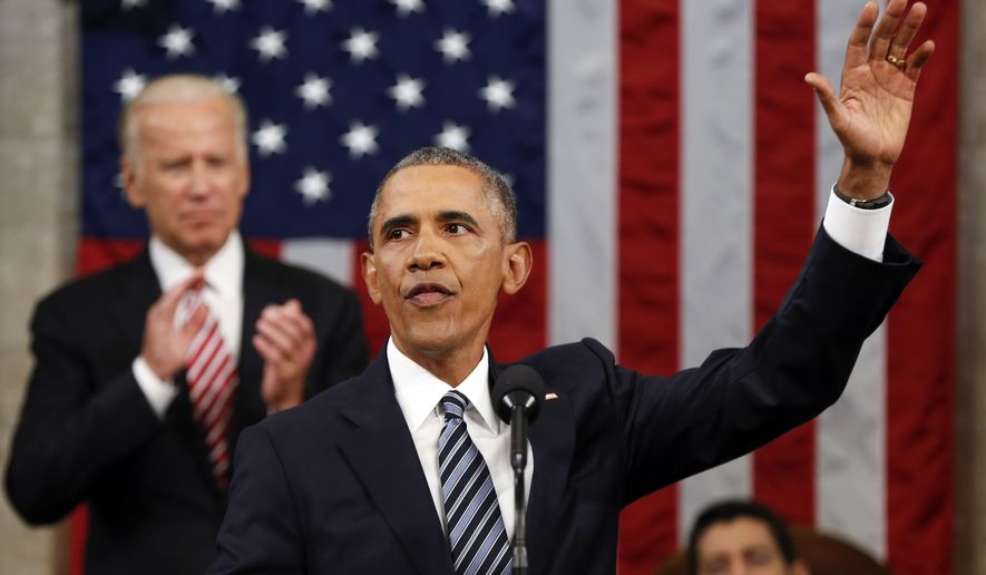 President Barack Obama waves at the conclusion of his State of the Union address to a joint session of Congress on Capitol Hill in Washington, Tuesday, Jan. 12, 2016. (AP Photo/Evan Vucci, Pool)