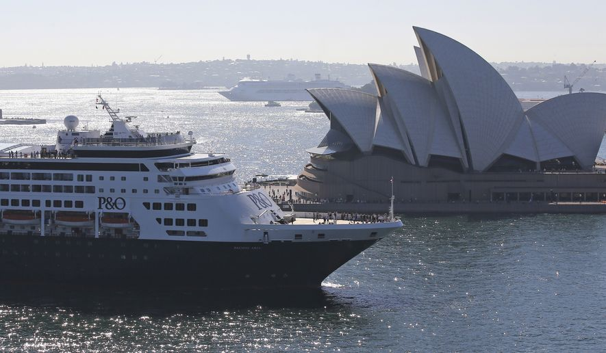 The Pacific Aria cruise ship of P&O Cruises Australia sails past the Sydney Opera House after her naming ceremony and maiden voyage in Sydney, Australia, on Nov. 25, 2015. (Associated Press)