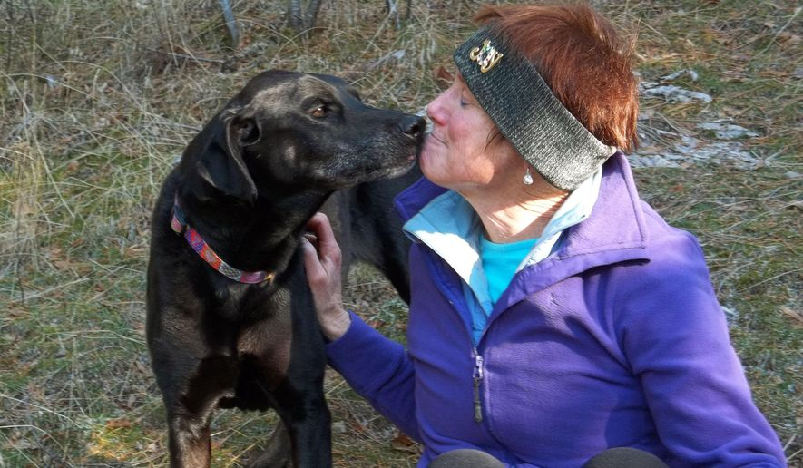 In this 2012 photo, Debby Trinen, of Sandpoint, Idaho, sits with her black Labrador retriever Joy on a late fall hike near their home. Trinen has taken Joy to a lot of veterinarians over the years, but the visits make the dog so scared she gets sick. Only recently has Trinen noticed any change and that's because she has a fear-free vet who examines Joy on a yoga mat on the floor. (Debby Trinen via AP)