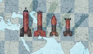 Mideast Chess Game Illustration by Greg Groesch/The Washington Times