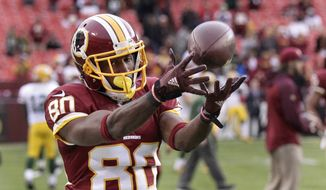 Washington Redskins wide receiver Jamison Crowder (80) warms up before an NFL wild card playoff football game against the Green Bay Packers in Landover, Md., Sunday, Jan. 10, 2016. (AP Photo/Mark Tenally)
