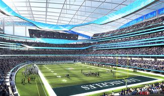 This undated rendering provided by HKS Sports & Entertainment shows a proposed NFL football stadium in Inglewood, Calif. During an NFL owners meeting Tuesday, Jan. 12, 2016, in Houston the owners voted to allow the St. Louis Rams to move to a new stadium just outside Los Angeles, and the San Diego Chargers will have an option to share the facility. The stadium would be at the site of the former Hollywood Park horse-racing track. (HKS Sports & Entertainment via AP)
