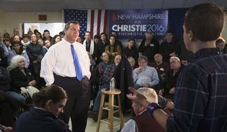 Republican presidential candidate, New Jersey Gov. Chris Christie speaks during a town hall style campaign stop, Wednesday, Jan. 13, 2016, at Pinardville Fire Station in Manchester, N.H. (AP Photo/John Minchillo)