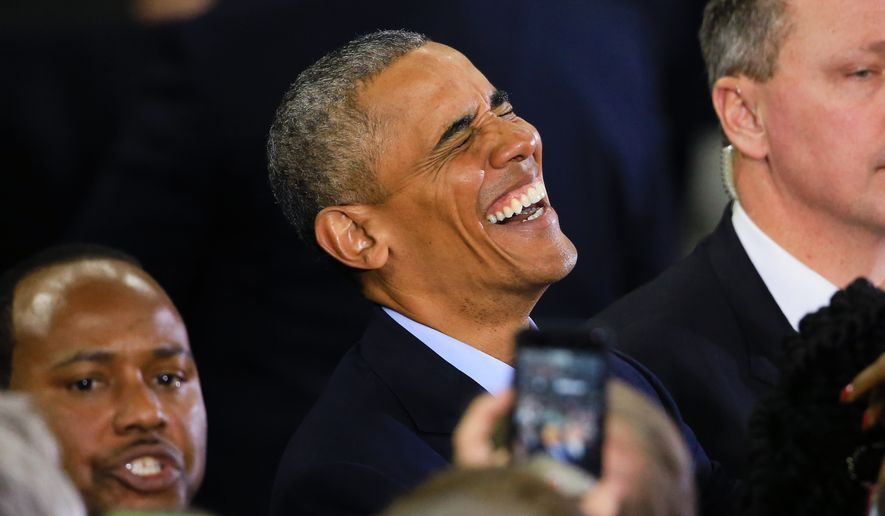 President Barack Obama laughs while greeting members of the audience following his speech at the Baxter Arena in Omaha, Neb., Wednesday, Jan. 13, 2016. Obama visited Omaha after delivering his final State of the Union address on Tuesday. (Associated Press) **FILE**