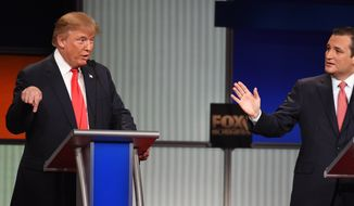 Republican presidential candidates Donald Trump and Sen. Ted Cruz squared off repeatedly during the Fox Business Network Republican presidential debate Thursday in North Charleston, S.C. (Associated Press)