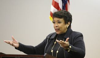 Attorney General Loretta Lynch speaks about the Obama Administration's work on criminal justice reform and reentry services amplifying President Obama's message following his final State of the Union address, Wednesday, Jan. 13, 2016, at the Suffolk County House of Correction at South Bay in Boston. (AP Photo/Stephan Savoia) ** FILE **