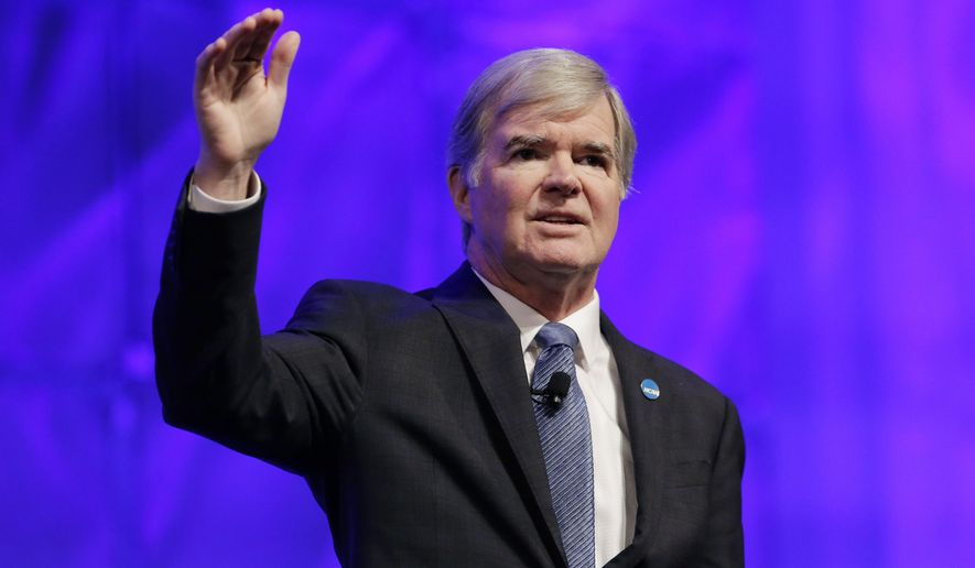 NCAA President Mark Emmert gives a state of the NCAA speech at the organization's convention Thursday, Jan. 14, 2016, in San Antonio. (AP Photo/Eric Gay)