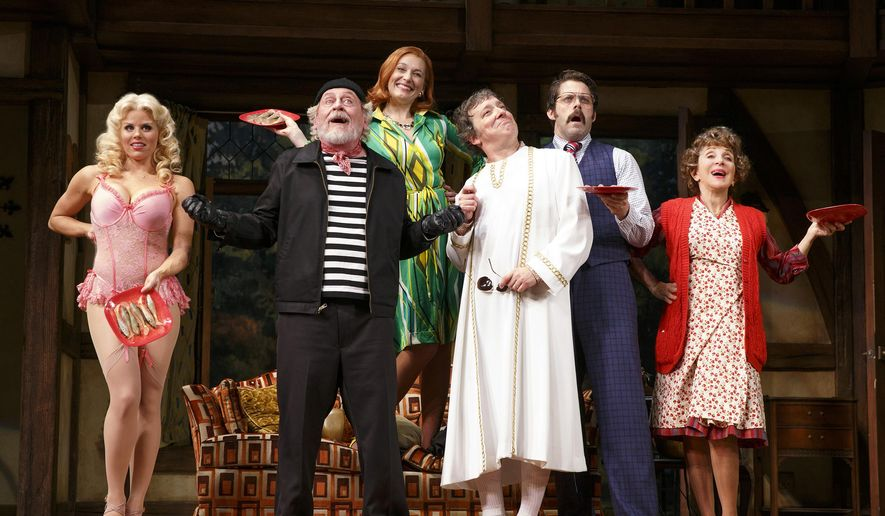 """This 2015 photo provided by Polk and Co. shows, Megan Hilty, from left, Daniel Davis, Kate Jennings Grant, Jeremy Shamos, David Furr and Andrea Martin in the Roundabout Theatre Company's """"Noises Off,"""" at the American Airlines Theatre in New York. (Joan Marcus/Polk and Co. via AP)"""