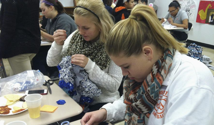 In this Nov. 24, 2015 photo, Freeport High School seniors Jenna Marsh, left, and Kaitlyn Nesemeier are two of about 20 students in teacher Kelly Everding's American women's history class this school year. As a part of the class, the students have designed and are sewing two quilts. (Karen Patterson/The Journal-Standard via AP)  MANDATORY CREDIT