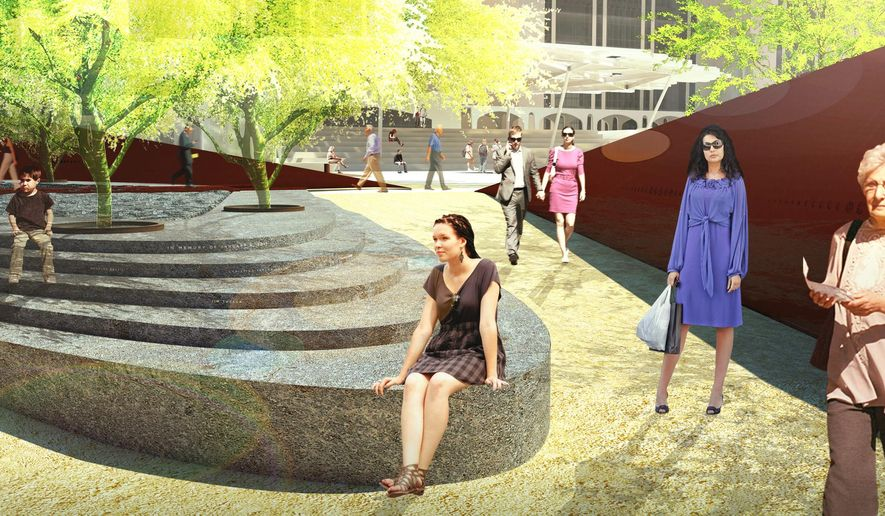 This architectural illustration provided by Tucson's January 8th Memorial Foundation, Courtesy of Chee Salette Architecture Office, shows a final design of the memorial honoring the victims of a 2011 mass shooting in Tucson. Carved symbols along a dark red steel wall will be among the various parts of a large memorial to honor victims of the mass shooting in Tucson that gravely wounded then-U.S. Rep. Gabby Giffords. (Tucson's January 8th Memorial Foundation/Courtesy of Chee Salette Architecture Office via AP)