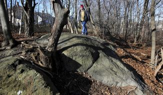 In this file photo taken Jan. 11, 2016, Salem State University history professor Emerson Baker walks through an area that he and a team of researchers said is the exact site where 19 innocent people were hanged during the 1692 witch trials in Salem, Mass. Salem Mayor Kim Driscoll said the city plans to put a tasteful memorial at the site, which is known as Proctor's Ledge and is surrounded by private homes. (Ken Yuszkus/The Salem News via AP) ** FILE **